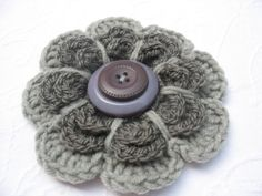 Crochet Flower Brooch in Titanium and Silver Grey by VeraJayne, $12.00 ughhhhhh I love this. All the way from South Africa too!