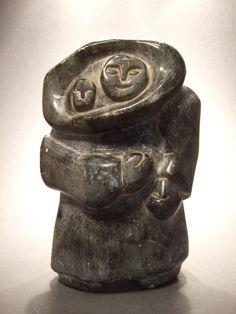 Vintage Inuit Eskimo Soapstone Carving Mother & Child