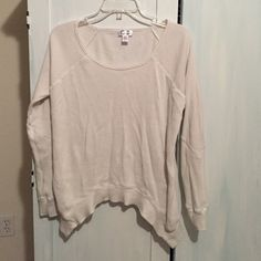 Kaisely white Henley brand new Brand new never worn Kaisely white Henley long sleeve with asymmetrical design. Size small Kaisely Sweaters Crew & Scoop Necks