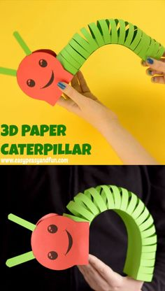 "This adorable paper caterpillar craft is a cute and wiggly project to make with your kids! It can be a ""freehand"" project or you can use our printable caterpillar craft template and cut along the lines. for toddlers Paper Caterpillar Craft with Template Cute Kids Crafts, Spring Crafts For Kids, Daycare Crafts, Halloween Crafts For Kids, Paper Crafts For Kids, Craft Activities For Kids, Preschool Crafts, Kid Crafts, Quick Crafts"