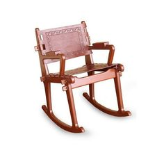 NOVICA Hand Crafted Traditional Wood Leather Rocking Chair (€445) ❤ liked on Polyvore featuring home, furniture, chairs, accent chairs, chair, brown, homedecor, wooden chairs, brown accent chair and wooden rocker chair