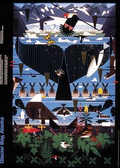Charley Harper artwork ~ Glacier Bay Alaska.  I'm really diggin this one, love the whale tail.