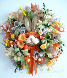Orange Bunny Wreath, Spring Wreath, Easter Wreath, Ostern kranz, from Europe by TrendyDecorShop on Etsy