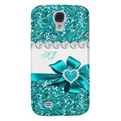 Samsung Galaxy S4 Diamond Cases   Elegant Classy Teal Glitter Look Monogram Bow Samsung Galaxy S4 Covers