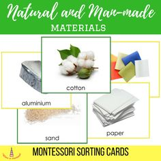 Natural and Man-made Materials Montessori Sorting Cards Printables