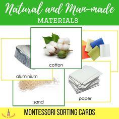 Natural and Man-made Materials Montessori Sorting Cards Printables