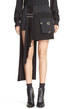 Anthony Vaccarello Cargo Pocket Side Pleat Miniskirt