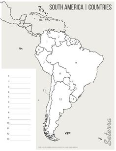 Key for printable South America countries quiz (pdf) Geography Map, Teaching Geography, World Geography, Map Worksheets, Social Studies Worksheets, Geography Worksheets, Geography Activities, Spanish Activities, Montessori Activities