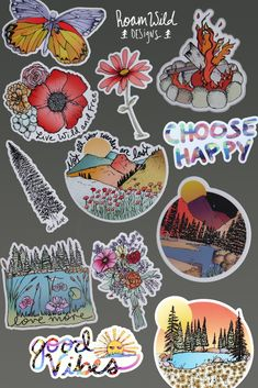 Artist designed stickers for your water bottle or laptop. Homemade Stickers, Diy Stickers, Printable Stickers, Journal Stickers, Planner Stickers, Tumblr Flower, Magazine Collage, Diy Friendship Bracelets Patterns, Tumblr Stickers