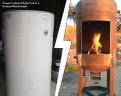 DIY Electric Water Tank to a Outdoor Wood Heater This is a cool DIY project for you to get your hands dirty with this summer. I won't lie. It looks complicated, but doable. Old electric water tanks are everywhere online,