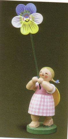 Handcrafted German Gifts - Girl Holding Pansy Flower - Wendt & Kühn