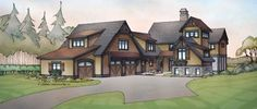 Home Plans HOMEPW72422 - 4,441 Square Feet, 5 Bedroom 4 Bathroom Cottage Home with 3 Garage Bays House 1