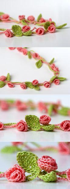Цветы шаршик-колье (крючком)