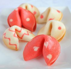 Valentine's Fortune Cookies from Sugar for the Brain Instead of fortunes you can write sweet love notes or other fun notes.