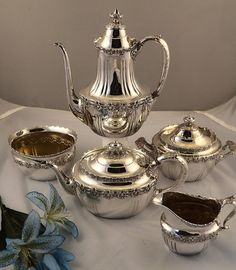 Tiffany Antique Sterling Silver 5 Piece Coffee Tea Set English King Pattern | eBay