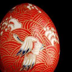 Washi Egg Crane on Cinnabar