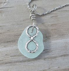 Infinity Sea Glass Necklace Revenge by WaveofLife on Etsy,