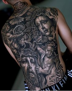 Image may contain: 2 people, closeup Back Tattoos For Guys, Full Back Tattoos, Full Body Tattoo, Jesus Tattoo, Hand Tattoos, Body Art Tattoos, Church Tattoo, Saint Tattoo, Catholic Tattoos