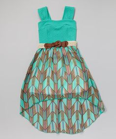 Loving this Mint Chevron Belted Hi-Low Dress on #zulily! #zulilyfinds