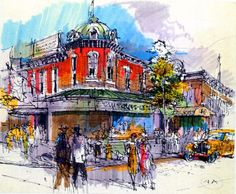 """This part two of the """"Disneyland Paris that never was"""" articles series is all about Main Street U. It's not very known, but at Disneyl. Walt Disney Imagineering, Walt Disney Co, Disney Art, Hong Kong Disneyland, Disneyland Paris, Disney Concept Art, Disney And More, Historical Images, Animation Film"""