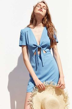 698f4136b0 Kimchi Blue Bow-Front Cutout A-Line Mini Dress Classy Outfits