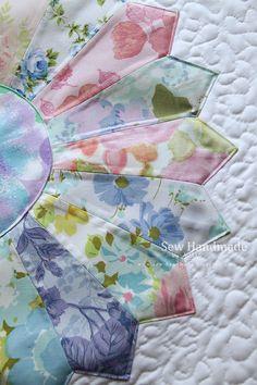 Sew Handmade: Vintage Linens Dresden Plate Quilt.  www.sew-handmade.blogspot.com