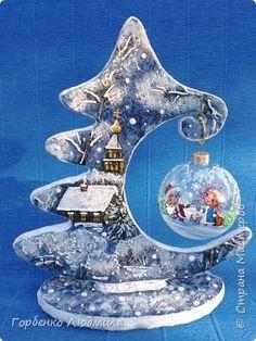 Поделка изделие Новый год Моделирование конструирование Папье-маше Ёлки-подвески для шаров Картон Пайетки Салфетки фото 3