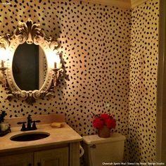Elegant Chic Bathroom Makeover with Cheetah Print Wall Stencils - Royal Design Studio