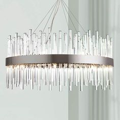 """Dallas 32"""" Wide Chrome and Crystal Chandelier"""