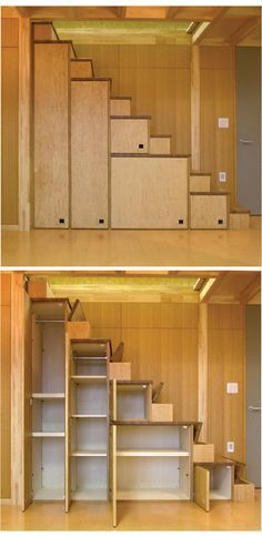 Tiny House Furniture Staircase Storage, Beds & Desks cabinets, stairs with flip up steps and very narrow stairs. Each step goes up one at a time for each foot. It is sort of spaced so you are putting one foot per step with a steeper step. Very space-sav Staircase Storage, Stair Storage, Garage Storage, Basement Storage, Stairs With Storage, Staircase Ideas, Closet Storage, Tiny House Storage, Garage Organization