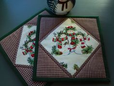 Christmas Quilted Pot Holders Snowman/Set of two with colors of red, green and white by RubysQuiltShop on Etsy