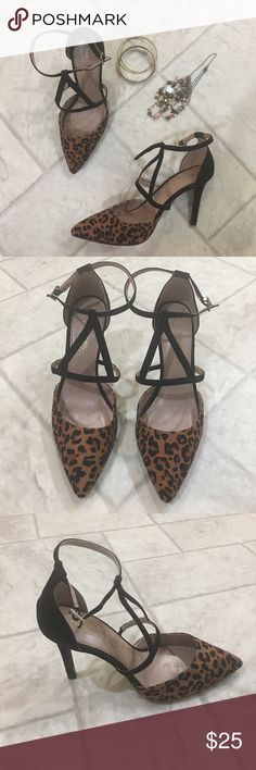 Strappy Leopard heels Black and leopard 3 inch heels. Goes great with a little black dress or jeans!! Worn once. Christian Siriano Shoes Heels