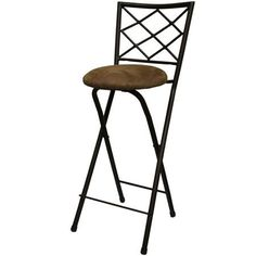 "Diamond X-Back Folding 30"" Barstool, Bronze with Beige Microfiber Cushion"