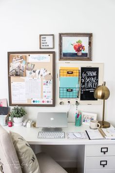 Improve your productivity and efficiency by having a great office organization system for your home office. Use these home office organization ideas. Office Wall Organization, Organization Ideas, Calendar Organization, Cool Office Gadgets, Wall File, Work Cubicle, Office Space Design, Office Walls, Desk Office