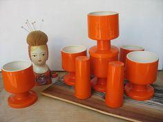 Retro Orange Ceramic Wine Glasses Goblets Salt And by luckduck