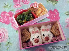 Pink bunny bento~ Bento Box, Cute Food, Awesome Stuff, Bunny, Geek Stuff, Boxes, Cooking, Pink, Recipes