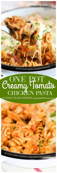 One Pot Creamy Tomato Pasta! This is one of my favorite one pot pasta recipes... it cooks up rich and creamy with tomatoes and chicken! The best part is that it needs just one pot, no extra dishes required!