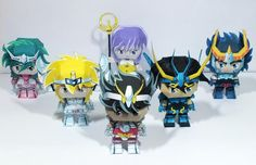 All these cute paper toys in Chibi style  of characters  from Saint Seya, Japanese anime and mangá series , were created by Brazilian desi...