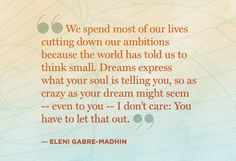 We spend most of our lives cutting down our ambitions because the world has told us to think small. Dreams express what your soul is telling you, so as crazy as your dream might seem -- even to you -- I don't care: You have to let that out. - Eleni Gabre-Madhin