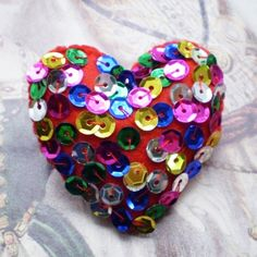 Disco Fever Felt Heart Brooch by nakedtile on Etsy Arts And Crafts Projects, World Of Color, Holiday Crafts, Yogurt, Greece, Felt, Valentines, Brooch, Halloween