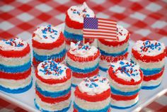 Red, White & Blue Mini Cakes.  Since the Rainbow Mini Cakes were such a big hit.  I decided to do them again with a little twist for the 4th of July.  These are also a perfect dessert for Memorial Day & Veteran's Day.    www.facebook.com/PartieswithCharm