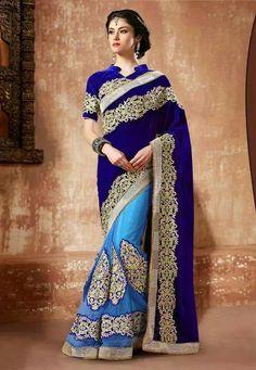 Navy velvet and sky blue saree