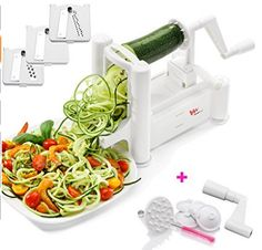 WonderVeg Spiralizer Vegetable Slicer - Tri Blade Spiral Slicer - Cleaning Brush, Mini Recipe Book and 6 Spare Parts Included - Zucchini Spaghetti Pasta Noodle Maker Zucchini Tomato, Zucchini Spaghetti, Spaghetti Noodles, Pasta Noodles, Zucchini Squash, Veggie Pasta, Veggie Noodles, Zucchini Noodles, Spiral Vegetable Slicer
