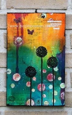 """Art from Birgit Koopsen: """"Art washes away from the soul the dust of everyday life."""" - Pablo Picasso /// The project was created on wood using WOW! embossing powders & stamps, Fab Foil and bonding powder."""