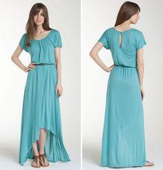 Trouvé Asymmetrical Hem Maxi Dress - Blue Meadow/Teal/Aqua - Trouve