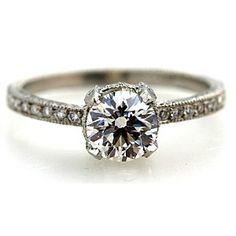 Simple + lovely: Platinum Art Deco Old European Cut Diamond Engagement Ring 0.79 Carats Circa 1920's