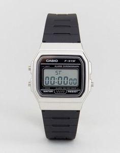 4834b5df28fd Reloj digital con correa de silicona en negro plateado F91WM-7A de Casio