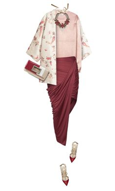 """""""Kimono & Draped Skirt"""" by yasminasdream ❤ liked on Polyvore featuring H&M, T By Alexander Wang, Helmut Lang, Valentino, Margot & Me and Nine West"""