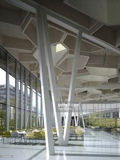 Trumpf Campus, Barkow Leibinger Architects, Stuttgart-Ditzingen, Germany, 2009, Restaurant Interior With View Through To Campus And Steel Columns, Barkow Leibinger Architects, Germany, Architect,
