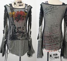 2016 New Punk Rave Tee shirt Fashion Womens Visual kei Rock printing gothic Top #punkrave #Blouse #Casual